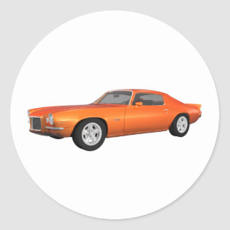 1972 Camaro: Muscle Car: Orange Finish: Classic Round Sticker