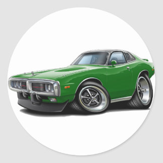 1973-74 Charger Green-Black SE Car Classic Round Sticker