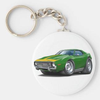 1973-74 Javelin Green-Gold Car Basic Round Button Key Ring