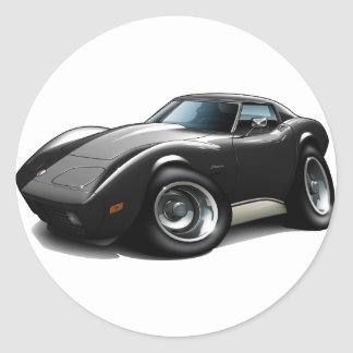 1973-76 Corvette Black Car Classic Round Sticker