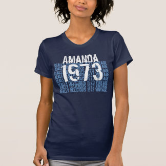 1973 Vintage Birthday Blue and White Custom Name T-Shirt