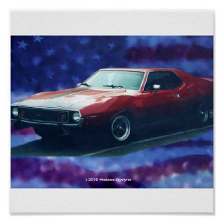 1974 AMC JAVELIN AMX ON CANVAS POSTER