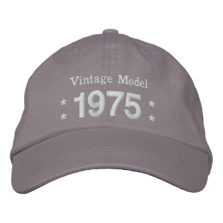 1975 or Any Year 40th Birthday A4P GRAY and WHITE Embroidered Hat