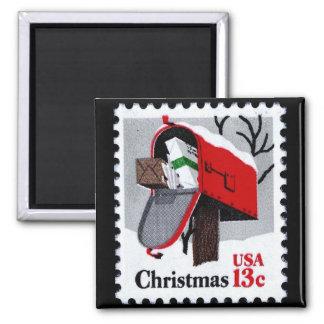 1977 CHRISTMAS STAMP (mailbox) ~ Square Magnet