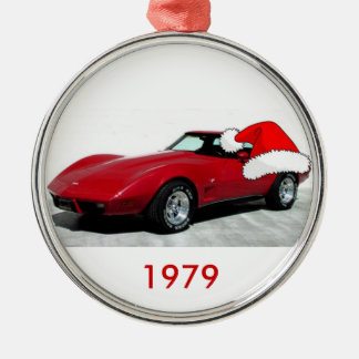1979 Christmas Red Corvette Metal Ornament