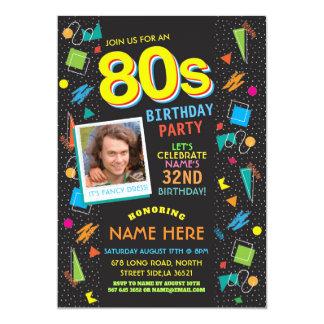 1980's Birthday Party Eighties 80's Photo Invite