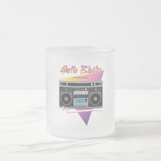 1980s ghetto blaster boombox frosted glass coffee mug