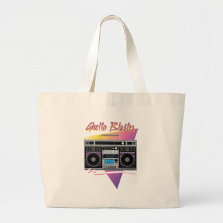 1980s ghetto blaster boombox large tote bag
