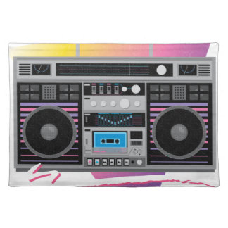 1980s ghetto blaster boombox placemat