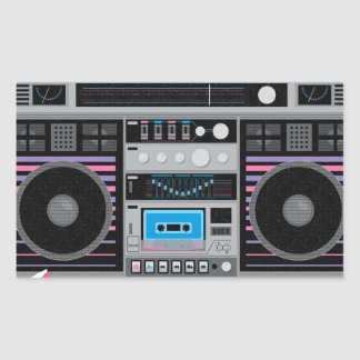 1980s ghetto blaster boombox rectangular sticker
