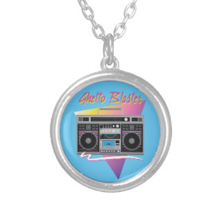 1980s ghetto blaster boombox silver plated necklace