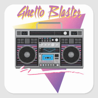 1980s ghetto blaster boombox square sticker