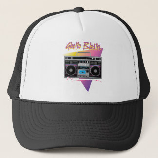 1980s ghetto blaster boombox trucker hat