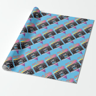 1980s ghetto blaster boombox wrapping paper