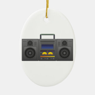 1980's Hip Hop Style Boombox Ceramic Oval Decoration
