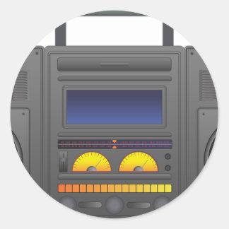 1980's Hip Hop Style Boombox Classic Round Sticker