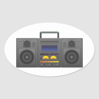 1980's Hip Hop Style Boombox Oval Sticker