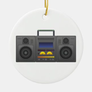 1980's Hip Hop Style Boombox Round Ceramic Decoration