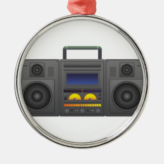 1980's Hip Hop Style Boombox Silver-Colored Round Decoration