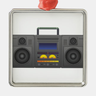 1980's Hip Hop Style Boombox Silver-Colored Square Decoration
