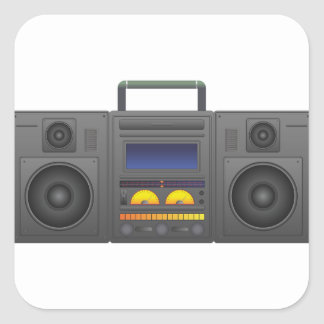 1980's Hip Hop Style Boombox Square Sticker