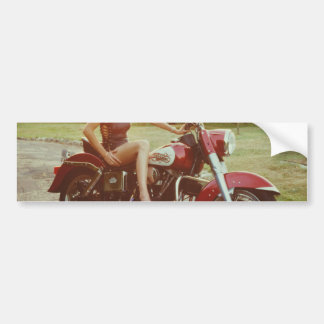 1980s Motorcycle Pinup Girl Bumper Sticker