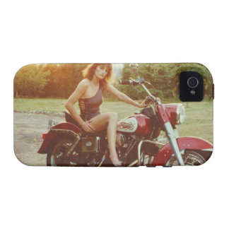 1980s Motorcycle Pinup Girl iPhone 4 Covers