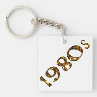 1980s Nostalgia Gold Glitter Key Ring