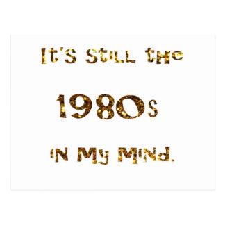 1980s Nostalgia Gold Glitter Postcard