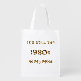 1980s Nostalgia Gold Glitter Reusable Grocery Bag