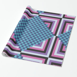 1980s Pink and Teal Tiles Wrapping Paper