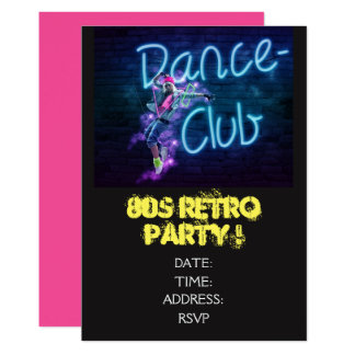 1980s retro theme dance party card
