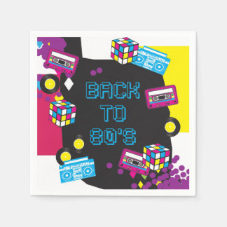 1980s Totally Awesome Party Napkins / Serviette Paper Serviettes