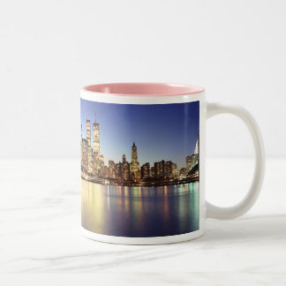1984_new_york_skyline_! Two-Tone coffee mug
