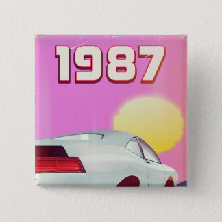 1987 sportscar poster 15 cm square badge