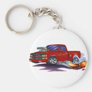1988-98 Silverado Maroon Truck Basic Round Button Key Ring