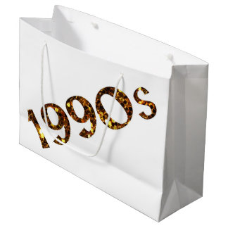 1990s Nostalgia Gold Glitter double-sided Large Gift Bag