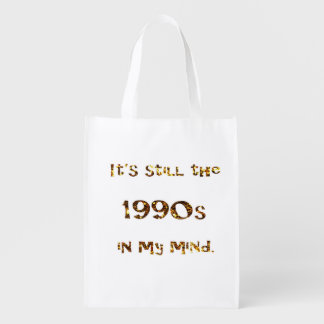 1990s Nostalgia Gold Glitter double-sided Reusable Grocery Bag