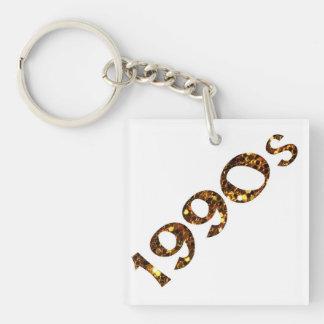 1990s Nostalgia Gold Glitter Key Ring