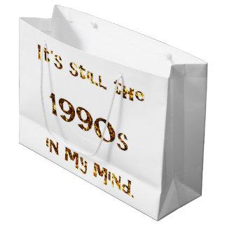 1990s Nostalgia Gold Glitter Large Gift Bag