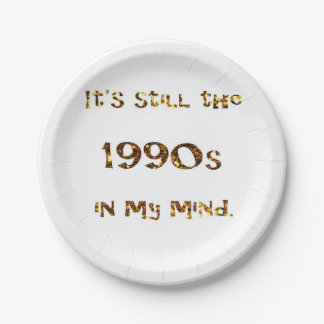 1990s Nostalgia Gold Glitter Paper Plate