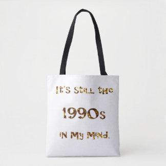 1990s Nostalgia Gold Glitter Tote Bag