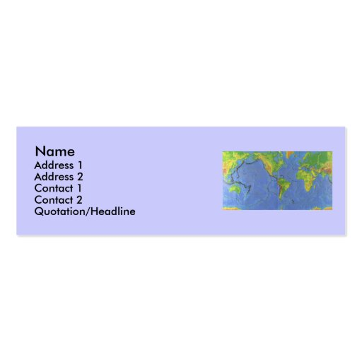 1994 Physical World Map - Tectonic Plates - USGS Business Cards