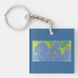 1994 Physical World Map - Tectonic Plates - USGS Double-Sided Square Acrylic Key Ring