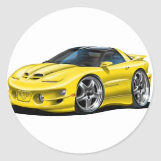1998-02 Trans Am Yellow Car Round Sticker