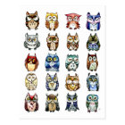 19 and 1 Cat and Owls Postcard