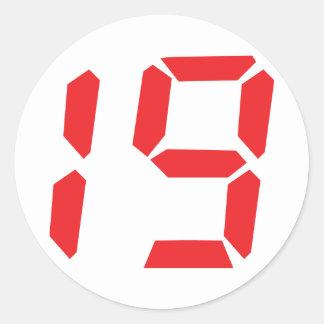 19 nineteen  red alarm clock digital number classic round sticker