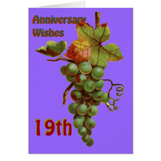 19th Anniversary wishes, customiseable Greeting Card