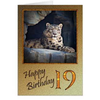 19th Birthday Card with a snow leopard