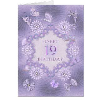 19th birthday card with lavender flowers